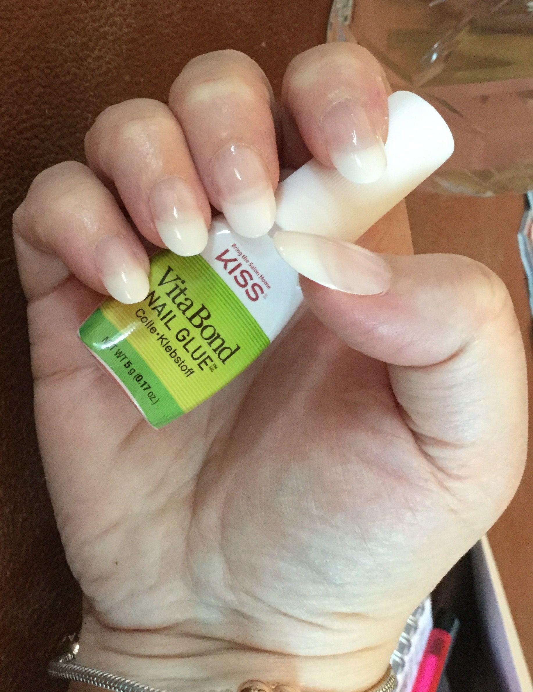 Kiss Salon Acrylic Nude French nails with VitaBond Nail Glue. | Nail ...