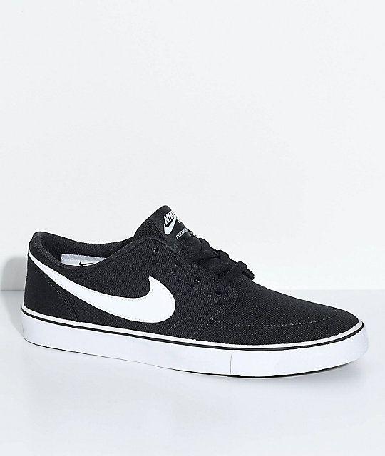 Nike SB Portmore II Black & White Canvas Skate Shoes | Skate