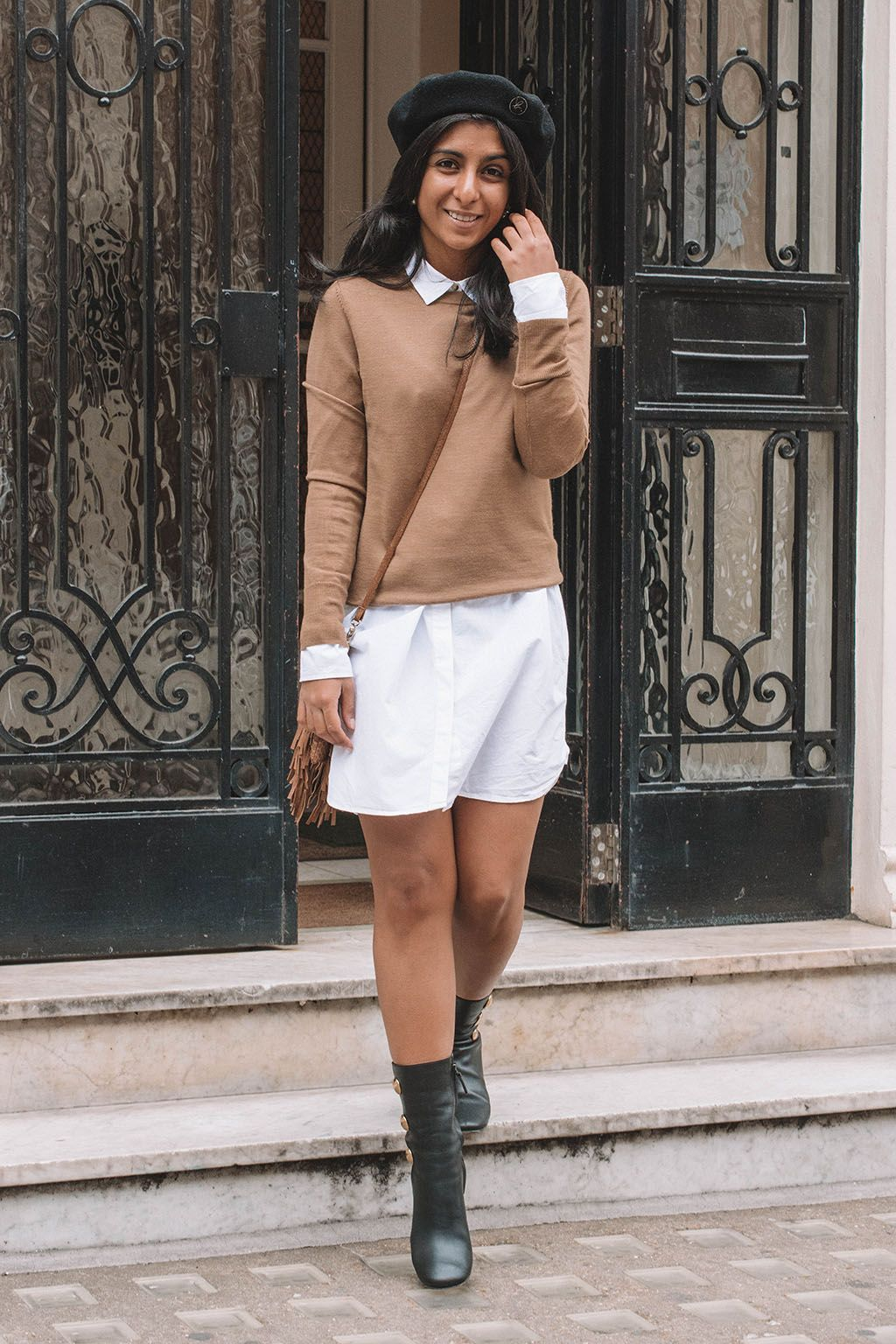 f9720a947 Fashion blogger Shloka Narang of The Silk Sneaker shares a fashionable way  to wear your favourite white shirt dress in the autumn with this  transitional ...