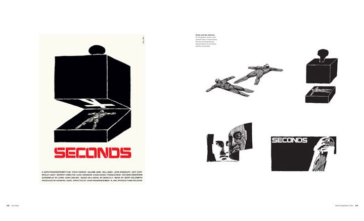 A spread with the poster and idea sketches from the chapter on Seconds, directed by John Frankenheimer, 1966