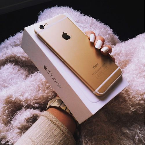 gold, iphone, and nails image
