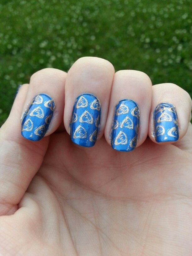 Blue with gold nail stamp