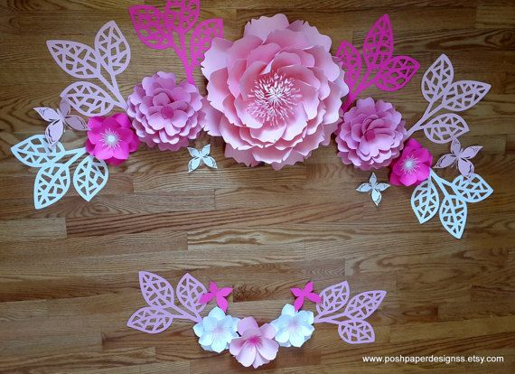 set of paper flower collage in hot pink pale pink baby pink