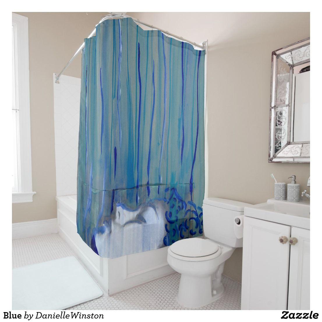 Blue Female Self Portrait Shower Curtain | Blue shower curtains ...