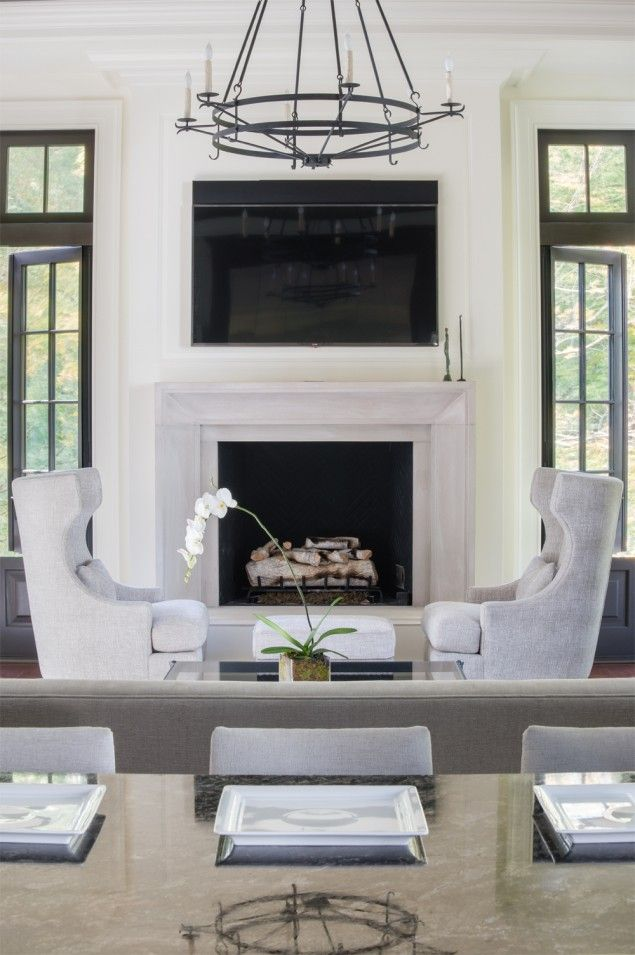 Classic luxury home design new construction family room for New construction fireplace