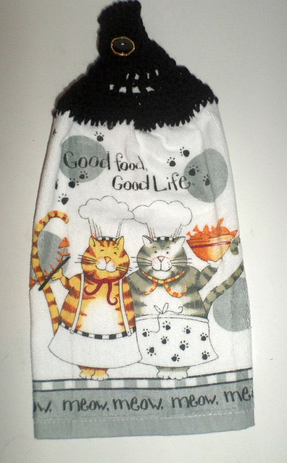 Handmade Black and Orange Cat Potholder Meow ....Kitchen Art