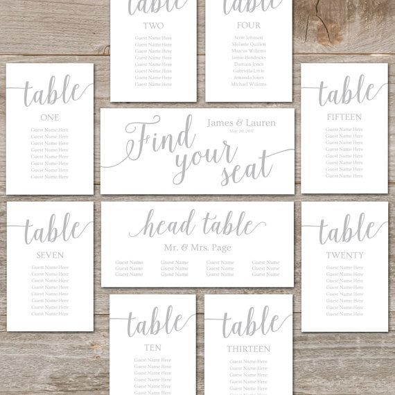 Printable Seating Plans For Wedding / Silver Seating Chart