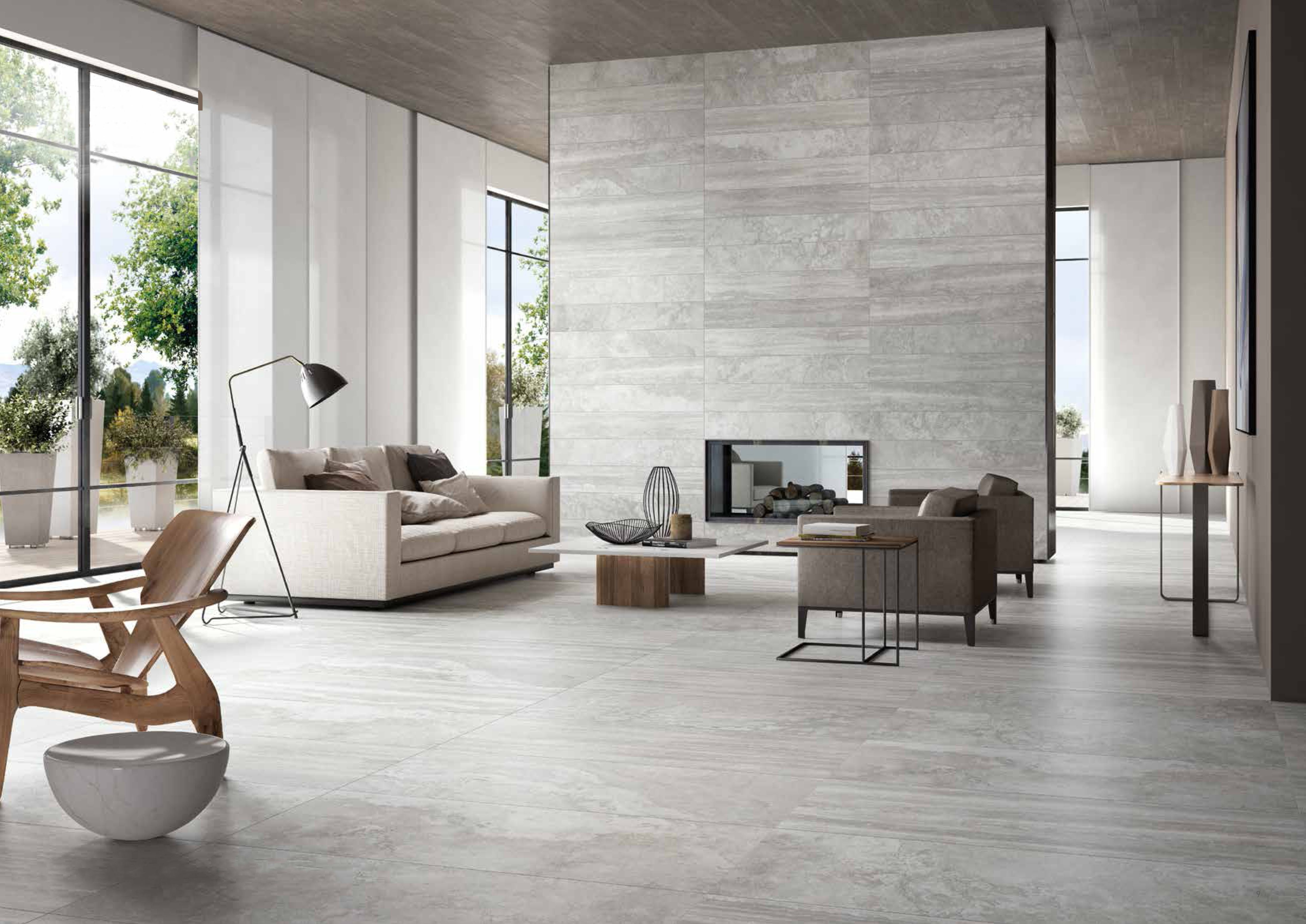This marble look porcelain tile is called Travertino Silver Mix and ...