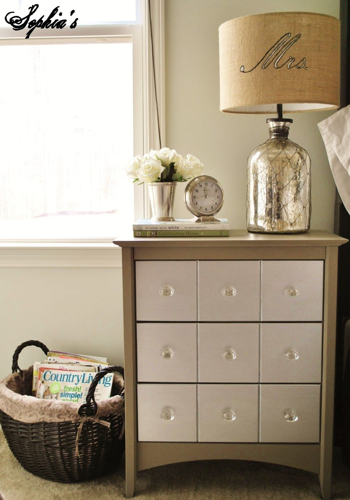 Make False Front On Dresser Drawers To Look Like This Like The Two Toned Look And Glass Knobs