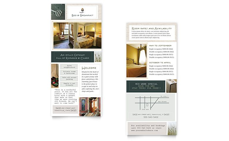 Accommodations Rack Card Designs  Google Search  Rack Card Ideas
