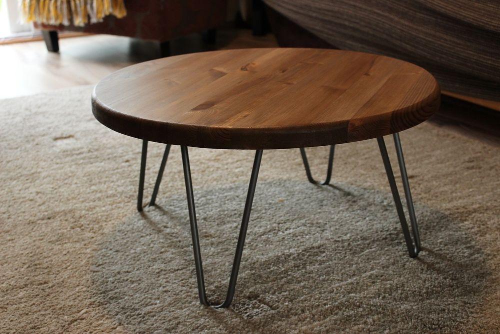 Rustic Vintage Industrial Wood Round Coffee Table Metal Hairpin