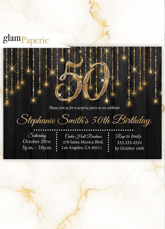 Gold Invitation 50th Birthday Invitation For Women