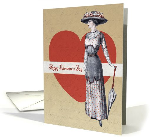 Victorian Lady with Parasol and Heart Background for Valentine's Day card