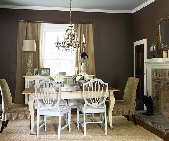 A comfy cottage makeover with vintage style brown walls burlap and chocolate walls