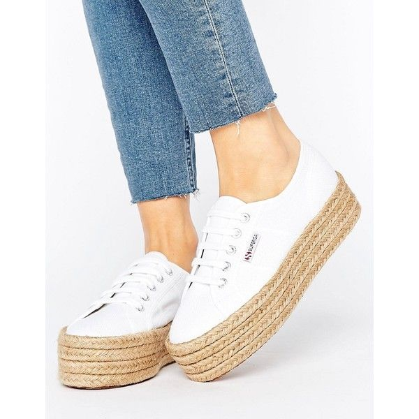 Superga 2790 Espadrille Flatform Trainers In White (£60) ❤ liked on  Polyvore featuring