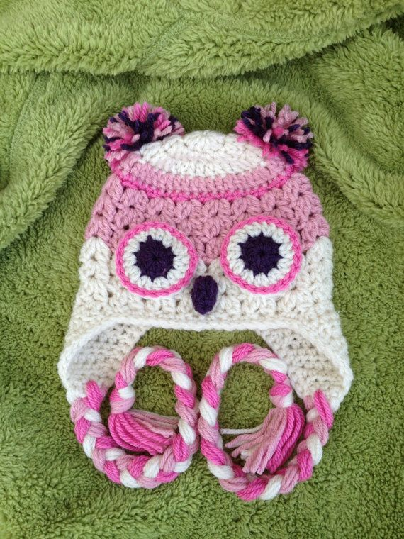 Pinkie Owl Baby Hat Crochet Animal Hats 0 to 6 by lisaswick, $18.00 ...