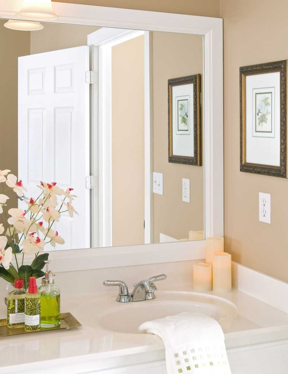 Bathroom bathroom mirror frame white make the mirror glass stronger hang in wall give little light to shine the mirror adding flower near sink increase