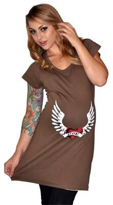 Hot Mama Ink Heart and Wing Maternity Tee Dress