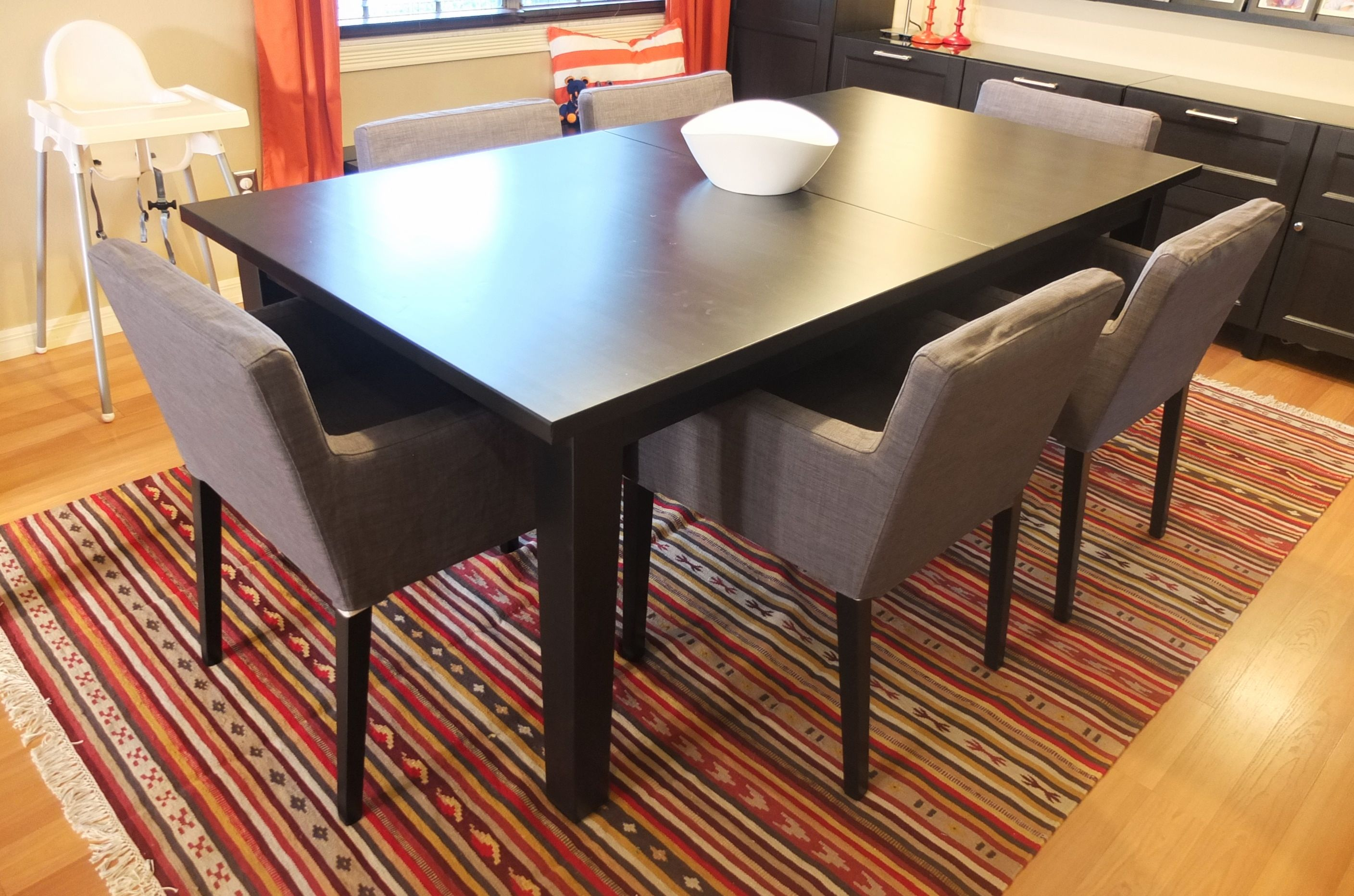 storn s extendable table brown black table seating leaves and room. Black Bedroom Furniture Sets. Home Design Ideas