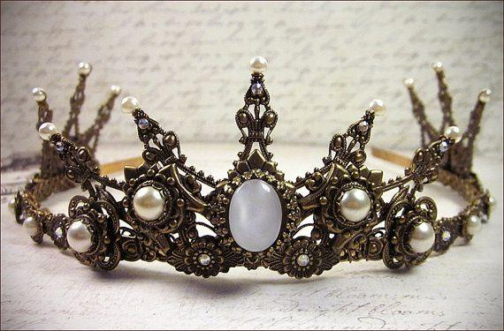 Tiara Nero Matrimonio Prom Abiti da Sposa Stile Vintage Regina Alternative Gothic