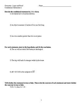 Geometry Conditional Statements Worksheets Statement Teaching