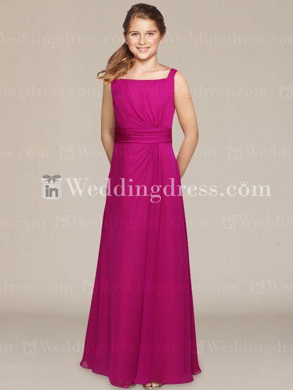 Chiffon Junior Bridesmaid Dress with Square Neckline JU011