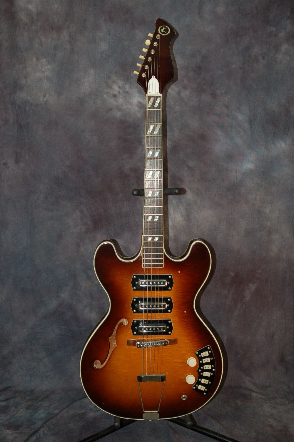 Vintage RARE 1967 Kay Titan Semi Hollow 3 Pickup Thinline Electric ...