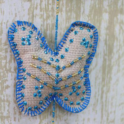 Novica Beaded String Ornament Color: Blue