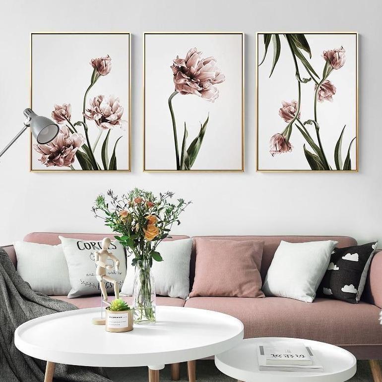 Romantic Pink Flowers Canvas Wall Art Flower Canvas Wall Art Wall Art Living Room Diy Canvas Wall Art