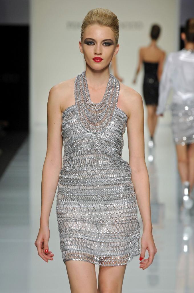 Metallic Hairpin Crochet Dress