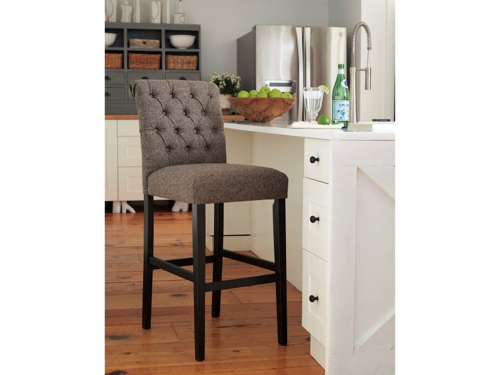 Tripton Tall Upholstered Barstool In Graphite Textured Fabric By