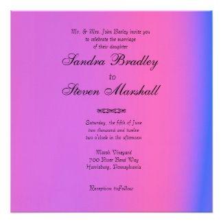 Pink and Purple Wedding Invitation