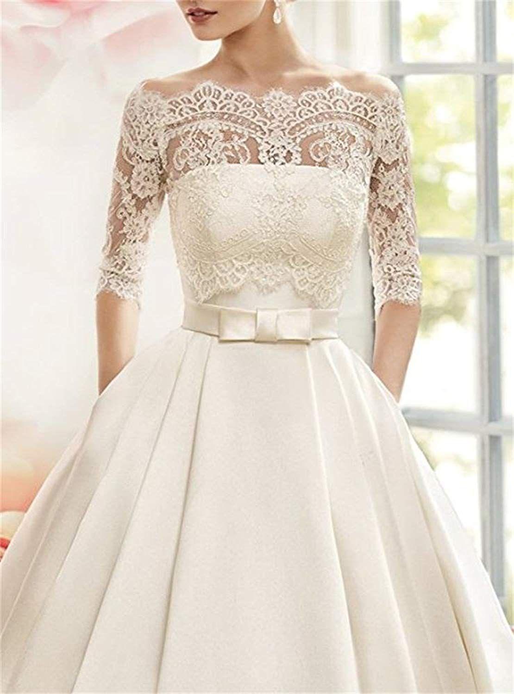 Cloverbridal Damen Prinzessin Hochzeitskleider Bateau 3/4 ...
