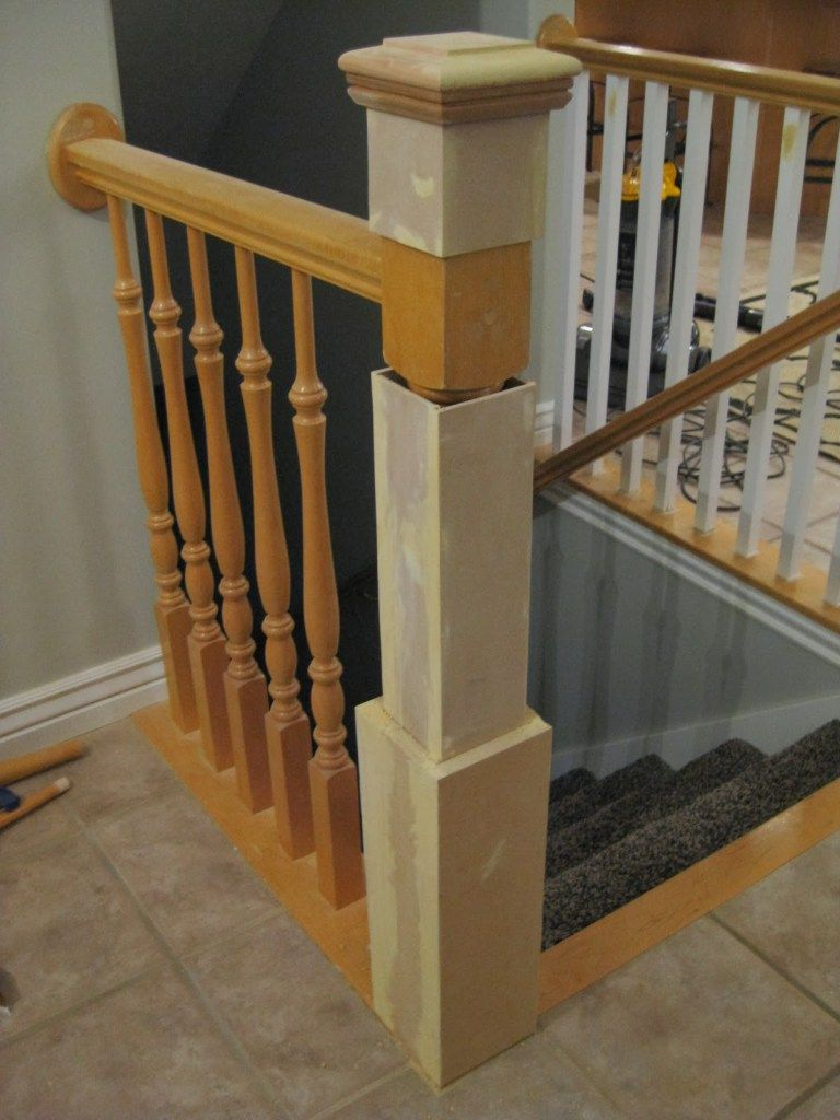 Diy Stair Newel Post Tutorial Tda Decorating And Design Featured On Remodelaholic Diy Stair Railing