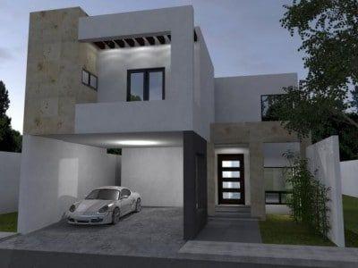 Modelos De Fachada De Casas De Dos Pisos Con Garaje Fachadas Casas Minimalistas Fachadas De Casas Modernas Casas Modernas