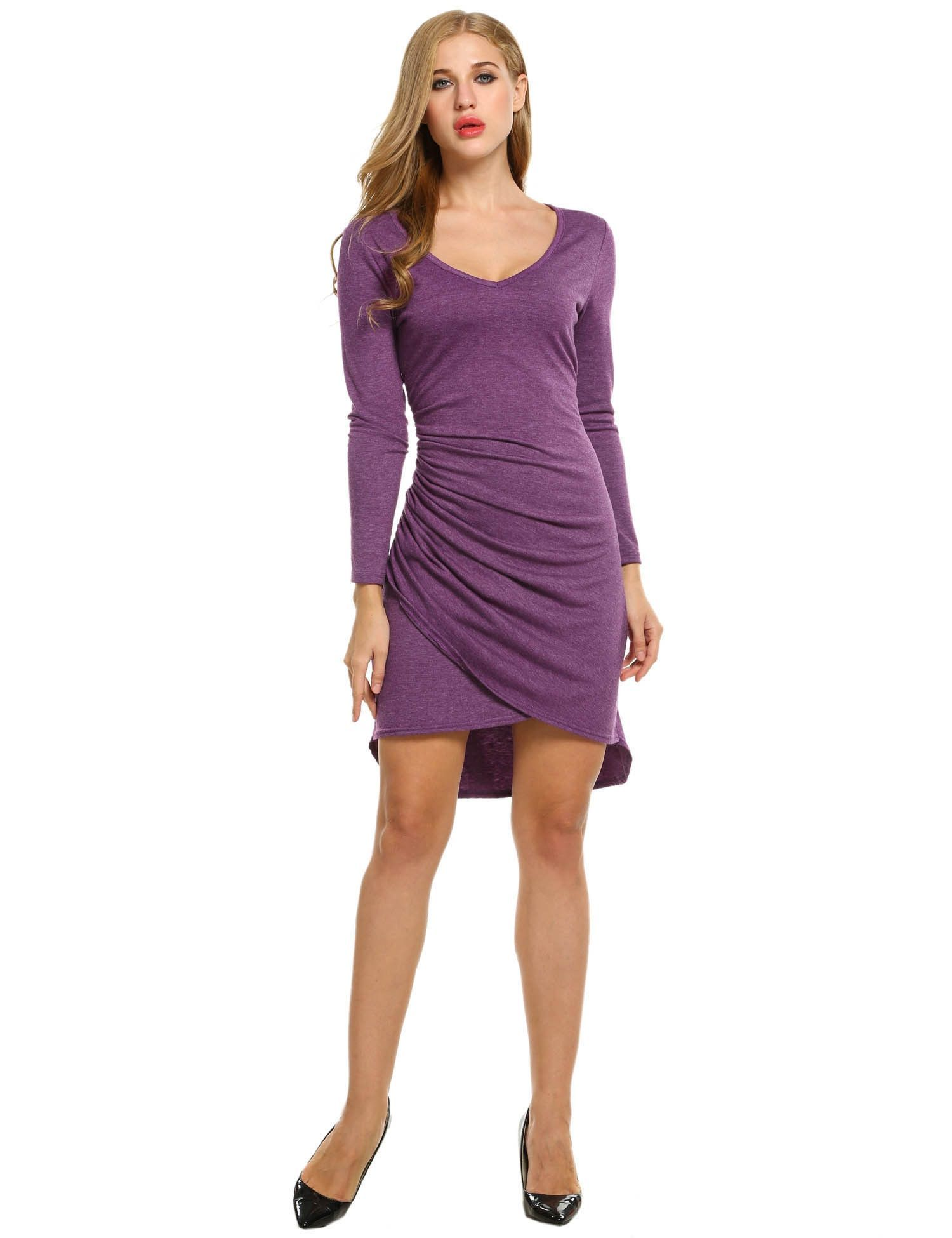 Women vneck long sleeve faux wrap ruched bodycon asymmetrical going