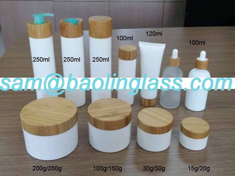 Environmental Bamboo Lid Frosted Glass Bottle Cream Jars