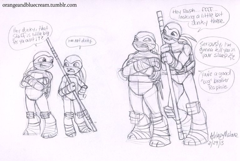 Orange And Blue Cream, Some old Tmnt kids sketches, I had a baby ninja...