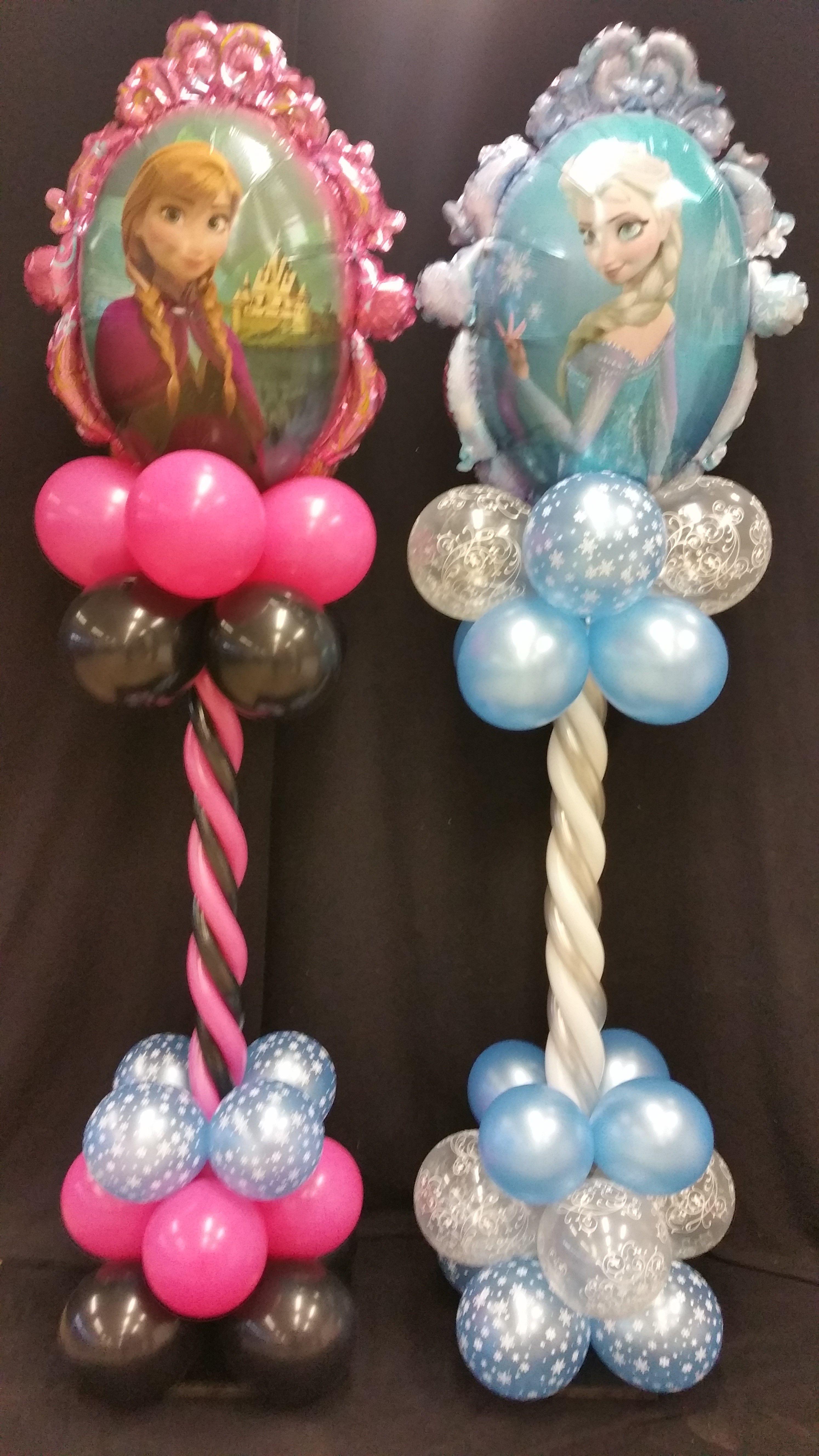 Balloon columm frozen elsa anna balloon decorations for Frozen balloon ideas