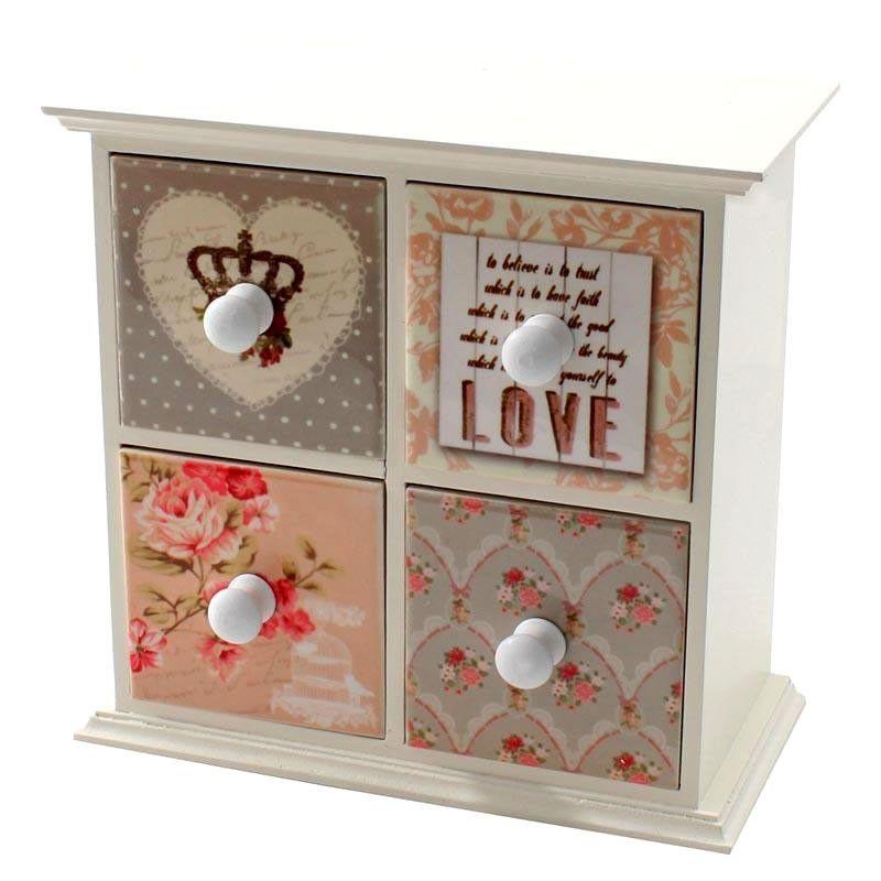 For her. Μόνο για κυρίες: μπιζουτιέρα ξύλινη (MDF) με πλακάκια κεραμικά και τριαντάφυλλα σε λευκό, με τέσσερα συρτάρια για να τακτοποιήσετε τα κοσμήματά σας και όχι μόνο!
