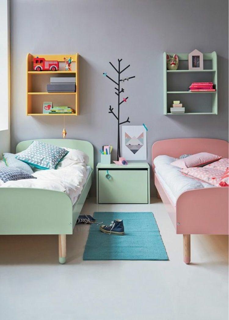 Bilder für Kinderzimmer Geschwister Betten in Pastellfarben ...
