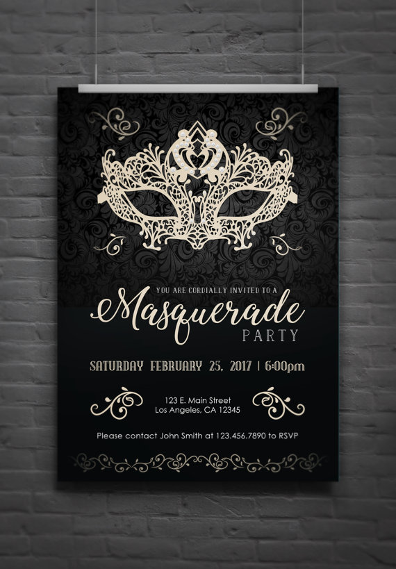 masquerade party invitation dark version digital file in 2018