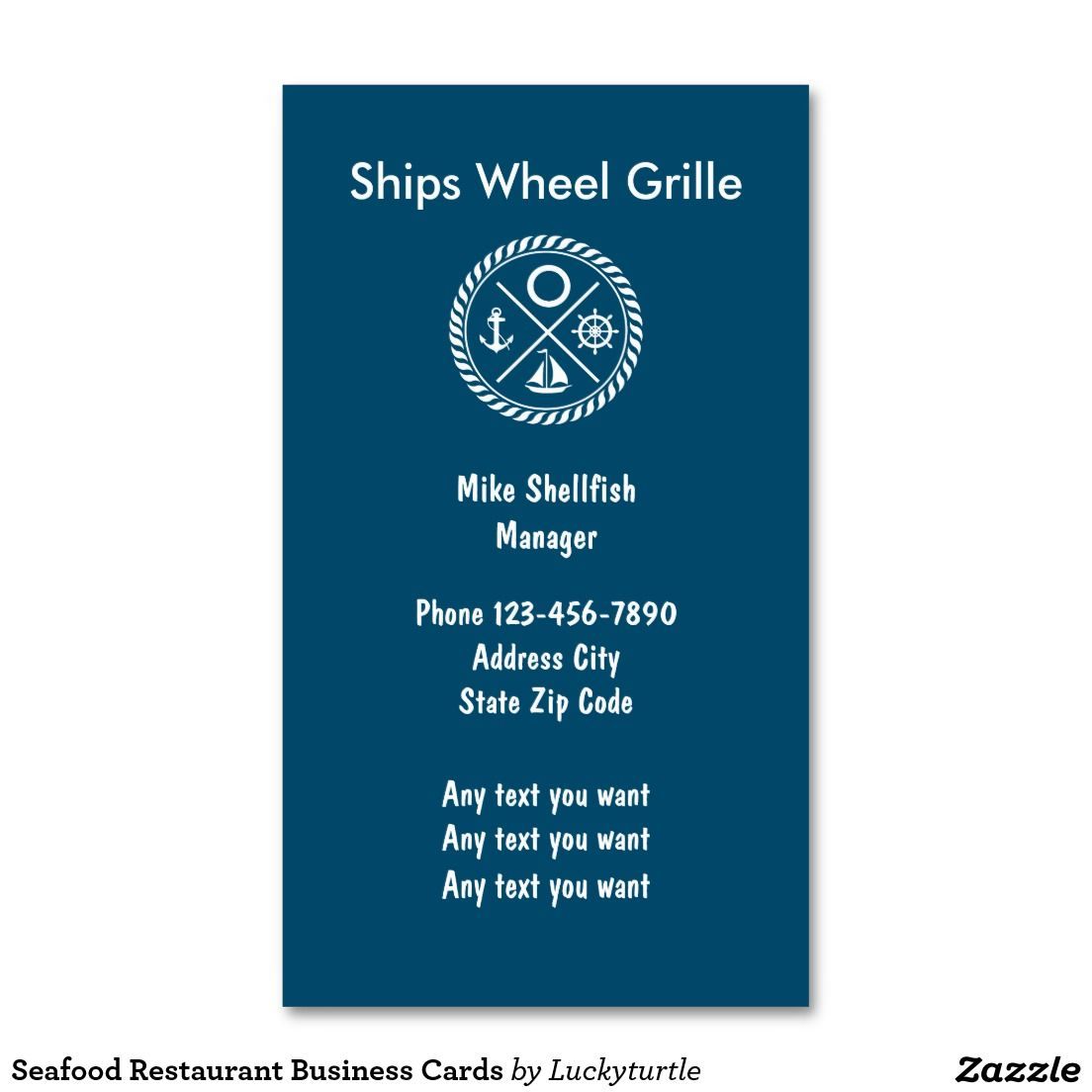 Seafood Restaurant Business Cards | Nautical Business Cards ...