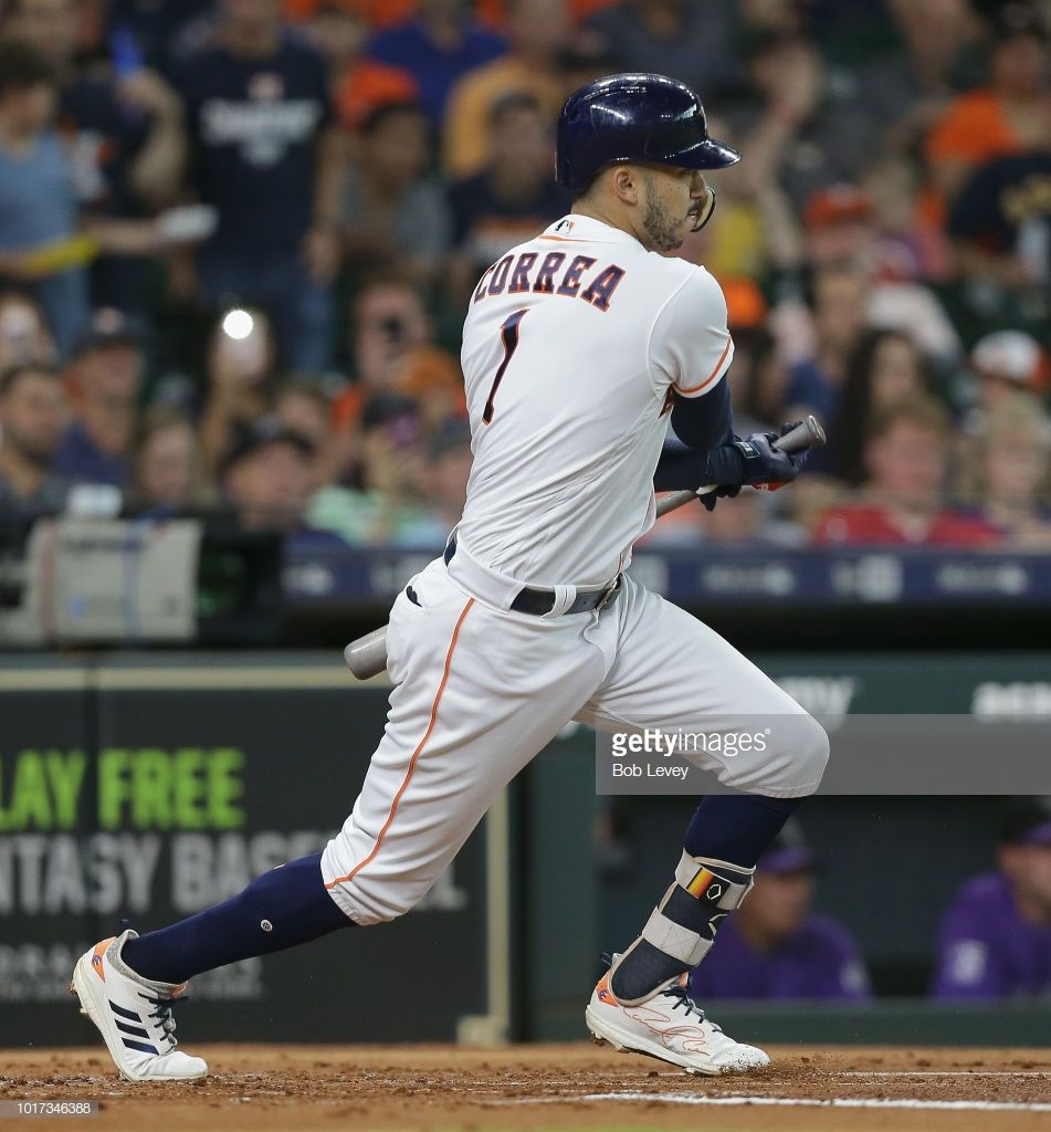 Carlos Correa of the Houston Astros doubles in three runs