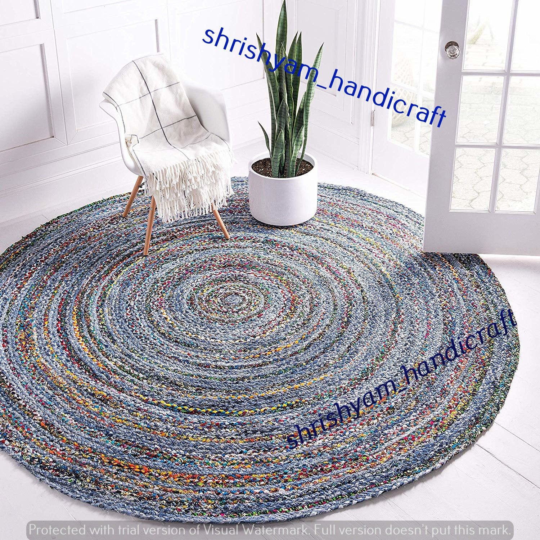 Handmade 7x7 Feet Indian Jute Cotton Round Yoga Mediation Etsy In 2020 Round Rugs Braided Rag Rugs Rugs On Carpet