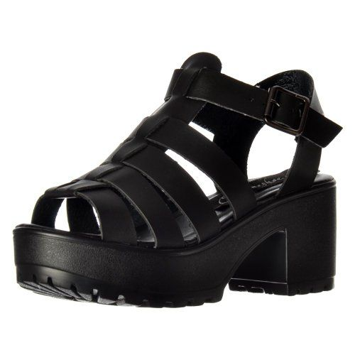 50b510f0823 Onlineshoe Womens Cut Out Gladiator Chunky Cleated Sole Block Heel Platform  Summer Sandals UK5 EU38 US7 AU6 Black PU     You can find out more details  at ...