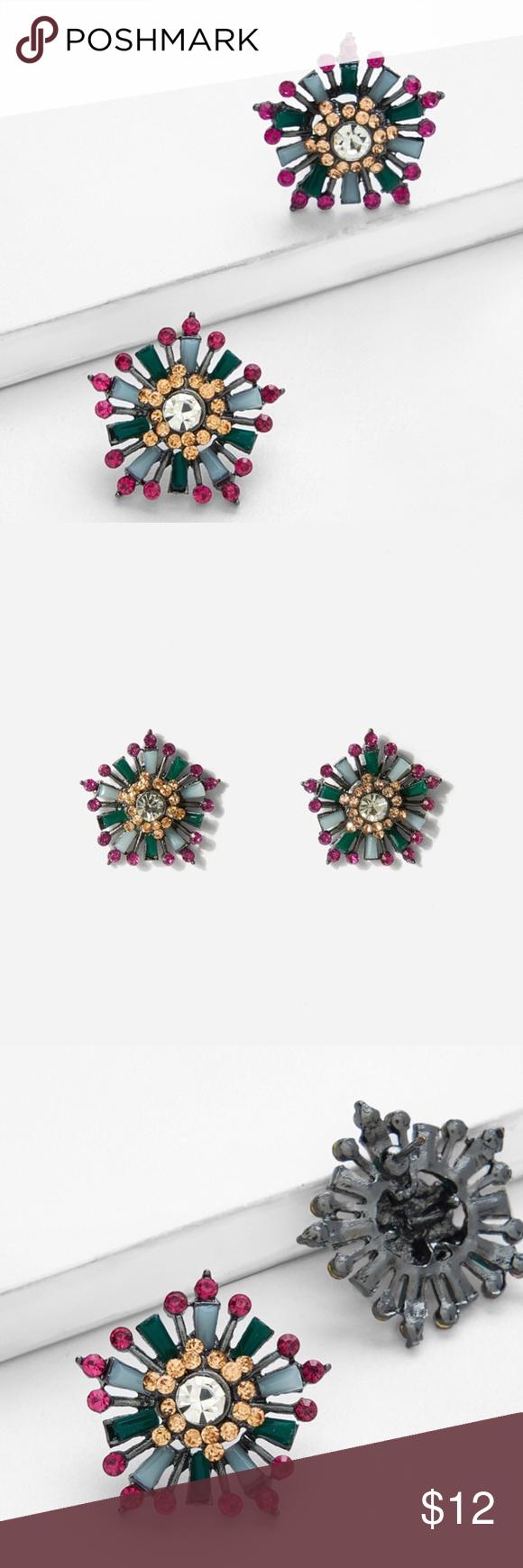 2bb460e931 SHEIN• Gemstone Stud Earrings NWT Multi-colored gemstone stud earrings  Colors: Faux Center