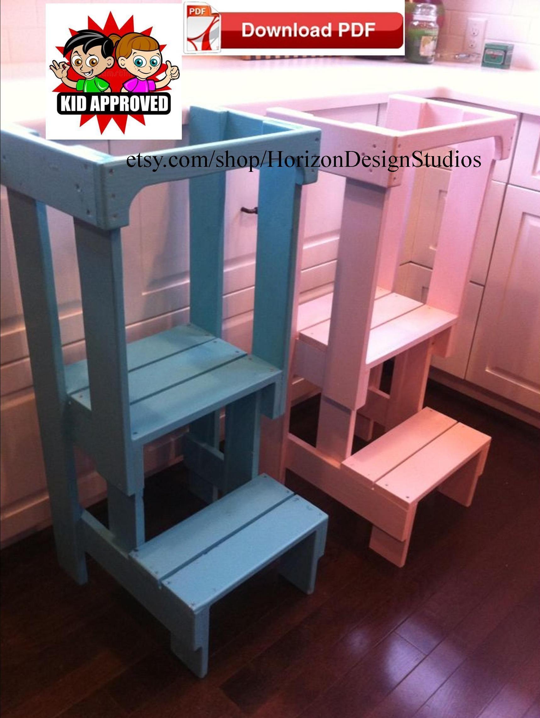 Diy Pdf Plan To Build A Toddler Tower Learning Tower Kitchen Stools Diy Kitchen Step Stool Diy Kids Kitchen