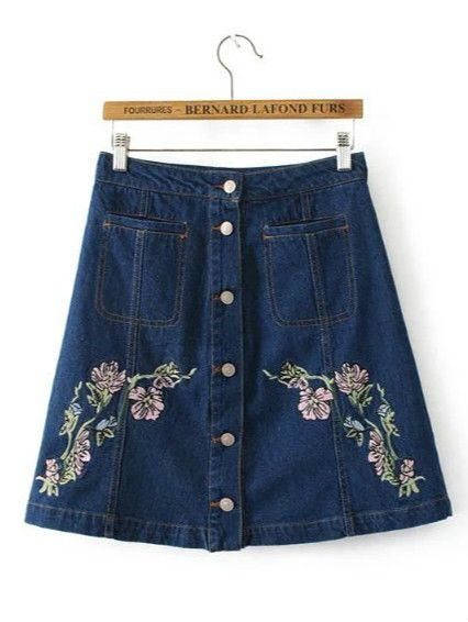 22a5ba41596 Optimize your comfort and beauty with this Floral Embroidery Denim Skirt.  The floral print makes you modest! Own it now!
