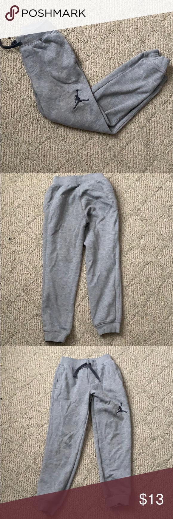 7b5afd81e2ddc5 Boys Jordan joggers Gently used grey joggers from Jordan. Size S. Jordan s  embroidered logo on one leg. Drawstring waistline. 2 pockets . No trades!
